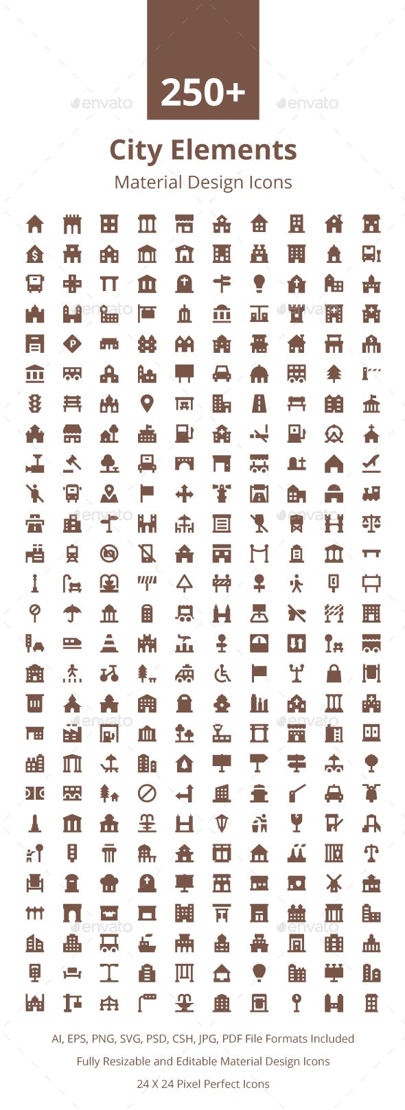 250+ City Elements Material Icons. Download here: https://graphicriver.net/item/250-city-elements-material-icons/17672289?ref=ksioks