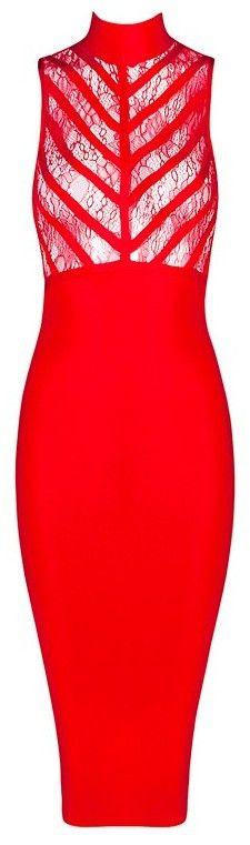 Lace Insert Sleeveless Midi Bandage Dress - Red