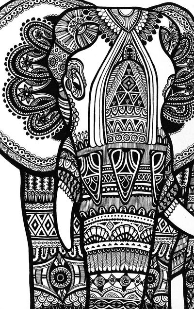 Elephant Art Print - For christmas I received a blank elephant sculpture from my parents and I can decorate it the way I want.. This seems like a great idea !