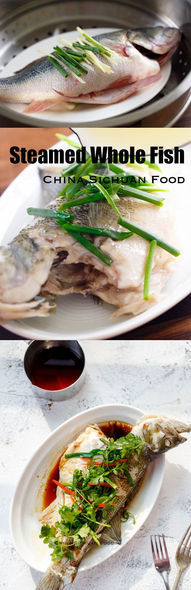 Chinese steamed whole fish with scallion and ginger