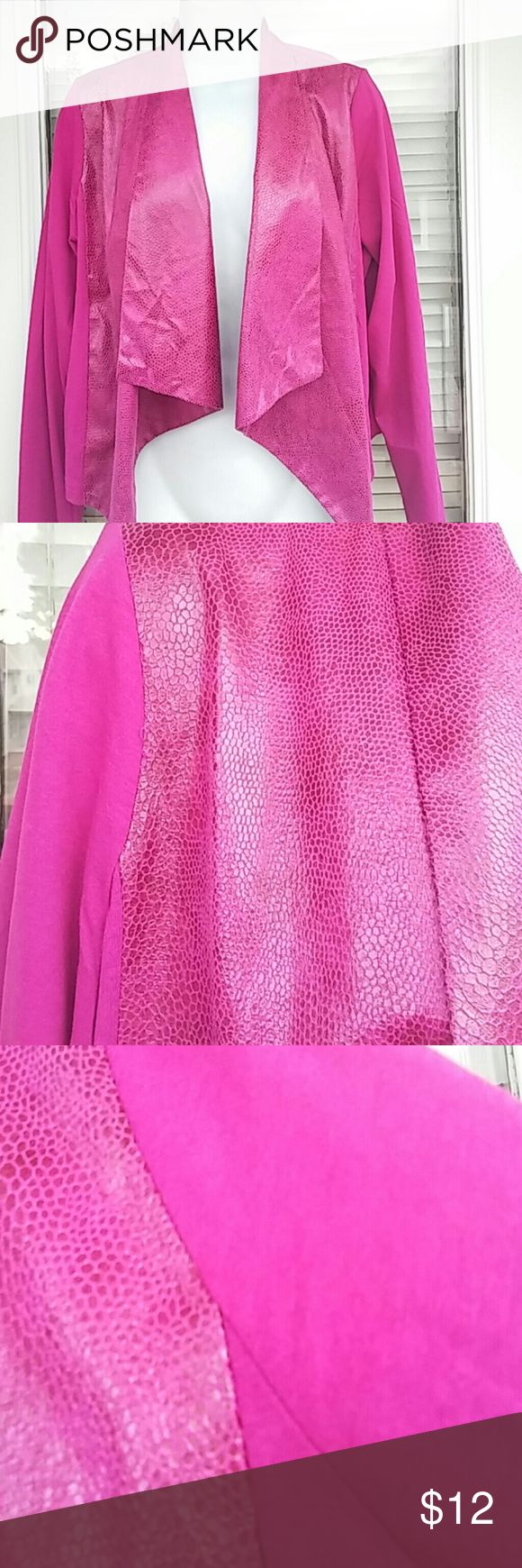 Giuliana Rancic luxe cardigan NEW/tags Giuliana rancic luxe draped cardigan Brand new with tags.  Giuliana Rancic fuschia light weight jacket.  Long sleeved.  Size large.  Front draping has faux snakeskin look. Sleeves and back are solid cotton look.   Material is poly cotton modal blend.  Length measures 20 inches.  Very cute Guiliana Jackets & Coats