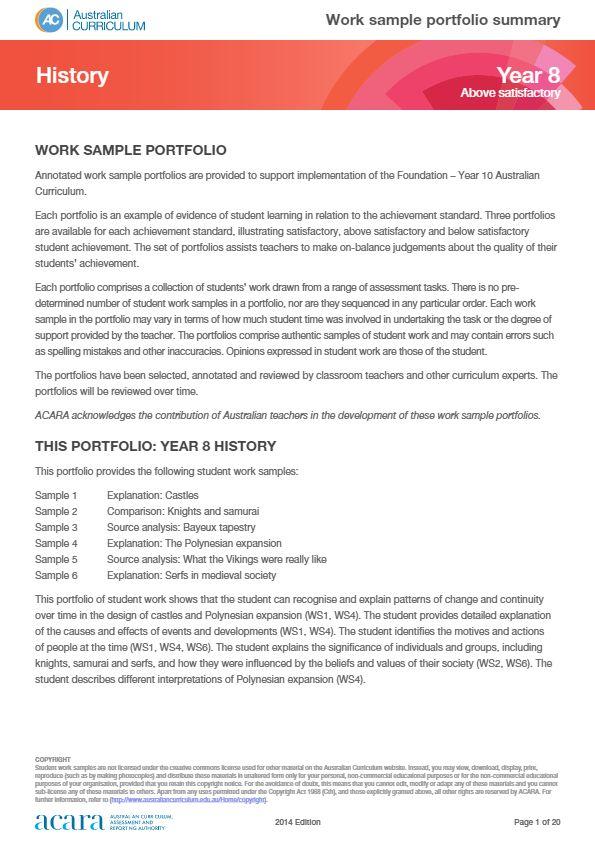 Year 8 History work sample portfolio - above satisfactory