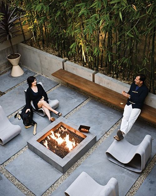Like the very large paving, seating and the firepit. Not a fan of the bare concrete.