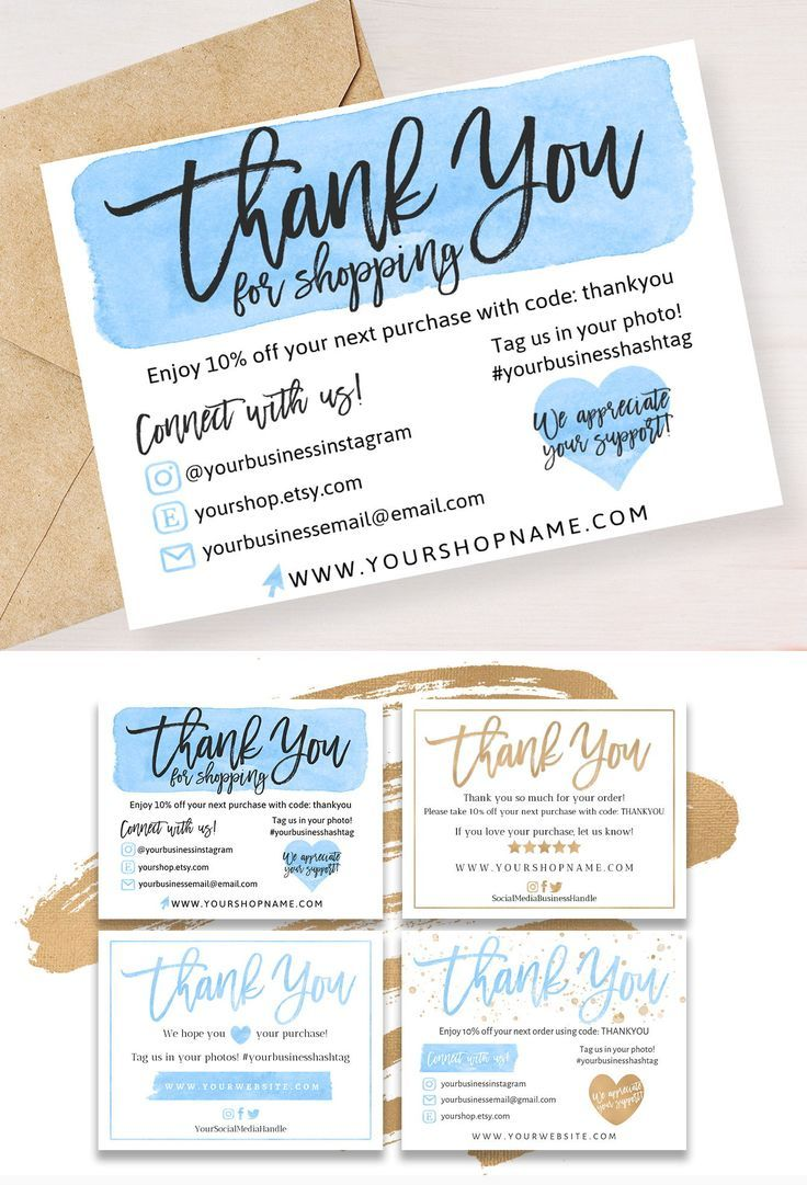 Blue Small Business Thank You Card Thank You For Shopping Etsy Thank You Card Template Business Thank You Notes Business Thank You