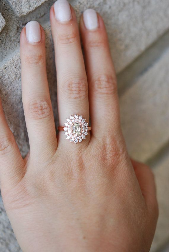 part 1 Engagement ring Oval Diamond ring 1.15ct Champagne