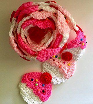 Pink Cupcake crochet #scarf with #sprinkles and a #red #cherry on top, #pinkcupcake #scarf, #crochet pink #cupcakescarf, #pinkcupcakes, #handmade scarf, crochet scarf, #winter scarf, #fall scarf, #winter #winteriscoming #fallfashion #style #art #love #shopping #gifts #handmadeatamazon #Amazon #pinkcupcakescarf #food #kawaii #kawaiigirl #kawaiifashion