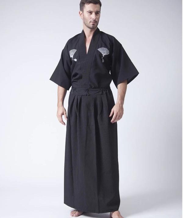 22e63ba43 Black Classic Japanese Samurai Clothing Men's Warrior Kimono With Obi  Traditional