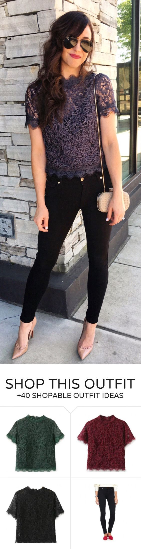 """#spring #outfits Sunday Night Mexican Was A Huge Success Ran Into Some Friends, Pulled Up A Table, And Nilla Got To Eat The Table Scraps Now Its A Marathon Of """"breaking Bad"""" As The Cherry On Top To The Weekend Love This $23 Top // Purple Lace Top + Black Skinny Jeans + Nude Pumps"""