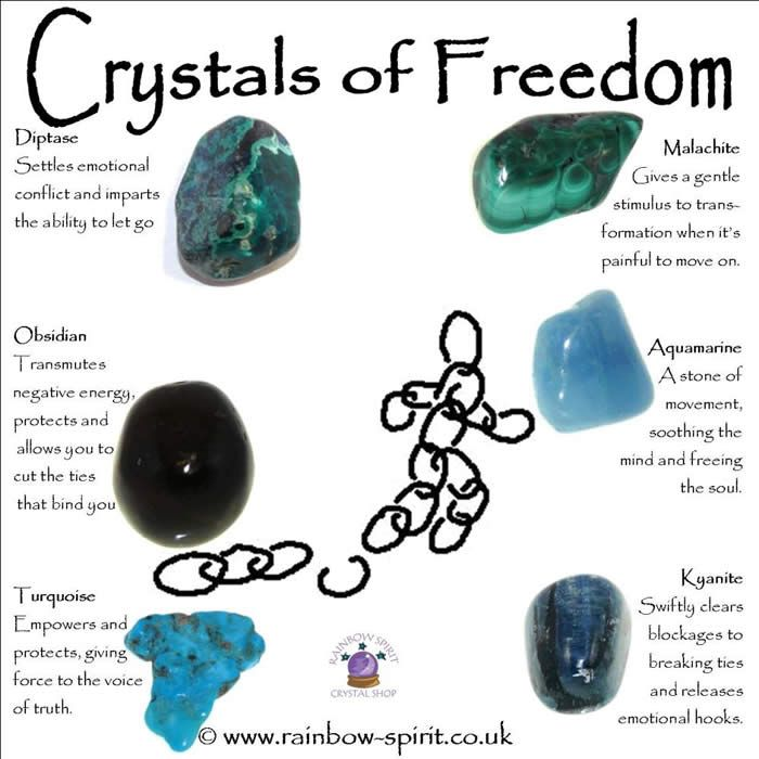 #Crystals for #Freedom: Diptase, Obsidian, Turquoise, Kyanite, Aquamarine and Malachite.