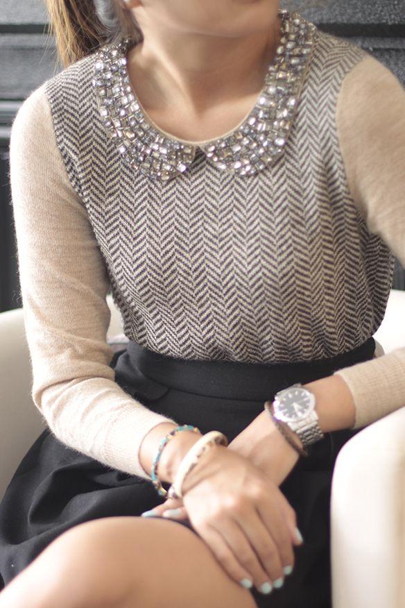 J. Crew jeweled collar, herringbone print, & a high waisted full skirt. Classic & preppy. Adorable.