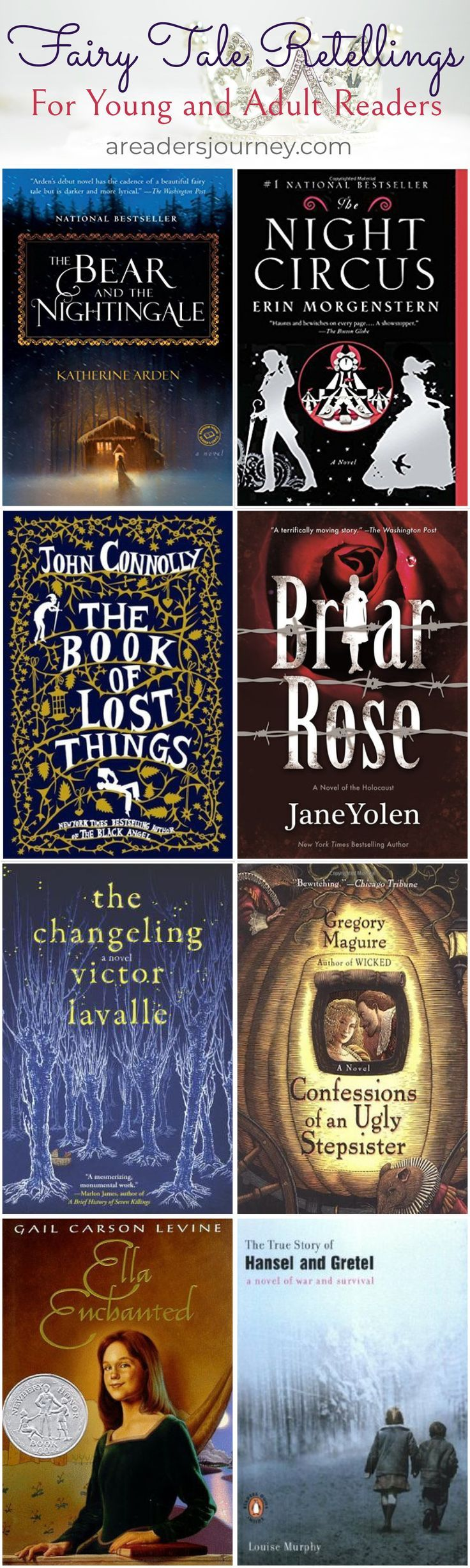 The Brothers Grimm wrote down the most well-known fairy tales in the world. Based on German folklore, these fairy tales are making a comeback in modern literature. These books are only a small portion of the fairy tale inspired modern literature!
