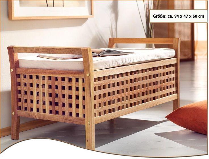 Sitzbank Walnuss Holz mit Kissen Stauraum Truhe Wäsche • EUR 49,90 - PicClick DE
