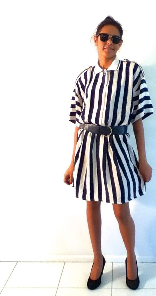 AU 14 $35 L: 88cm B: 94cm W: 60cm   Blue and white stripped vintage dress. This is my fav pic of the new stock. It has a matching belt and feature shoulders with blue and gold buttons. It has three buttons on the front. LOVE THIS DRESS....