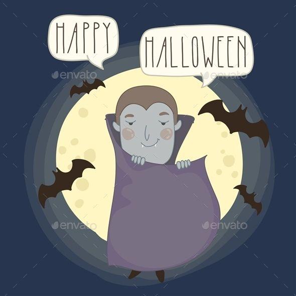 Halloween Background with a Cartoon Dracula
