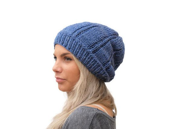 Slouchy Knit hat / Women knit hat in Mid Blue / by EPSILONstudio