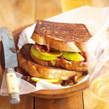 Peanut Butter and Apple-Bacon Sandwiches are the perfect complement to your favorite fall soup.