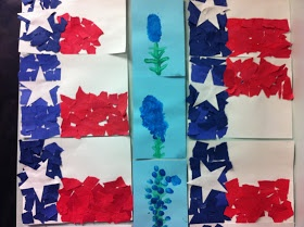 Texas Unit -  Several ideas including this Torn Paper Texas Flag Craft