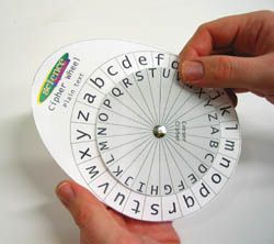 DIY Cipher wheel, with templates. It uses a pin and eraser to spin the wheels, but think you can use a butterfly clasp just as well.
