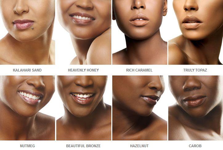 Makeup company Black Opal's foundation colors.
