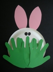 Ooooh! Whos peeking from behind the grass? Why its a cute little bunny! A simple craft for spring, Easter, letter R, etc. for a cute bulletin board idea, use small sized plates.