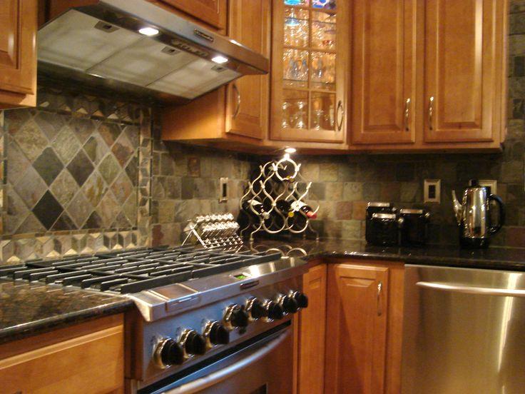 Backsplash Slate Tile Kitchen