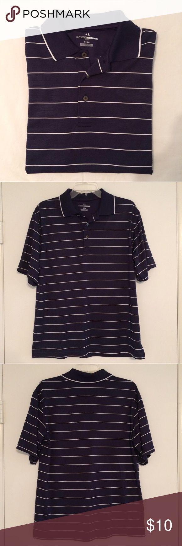 Men's Grand Slam Golf Polo Shirt Men's Grand Slam Golf Polo Shirt Size Small Navy blue and white stripes 100% Polyester Excellent Condition! Grand Slam Shirts Polos