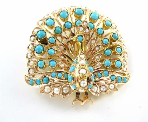 14KT YELLOW GOLD PEACOCK PENDANT PIN BROOCH VINTAGE ANTIQUE TURQUOISE PEARL  $1,950.00
