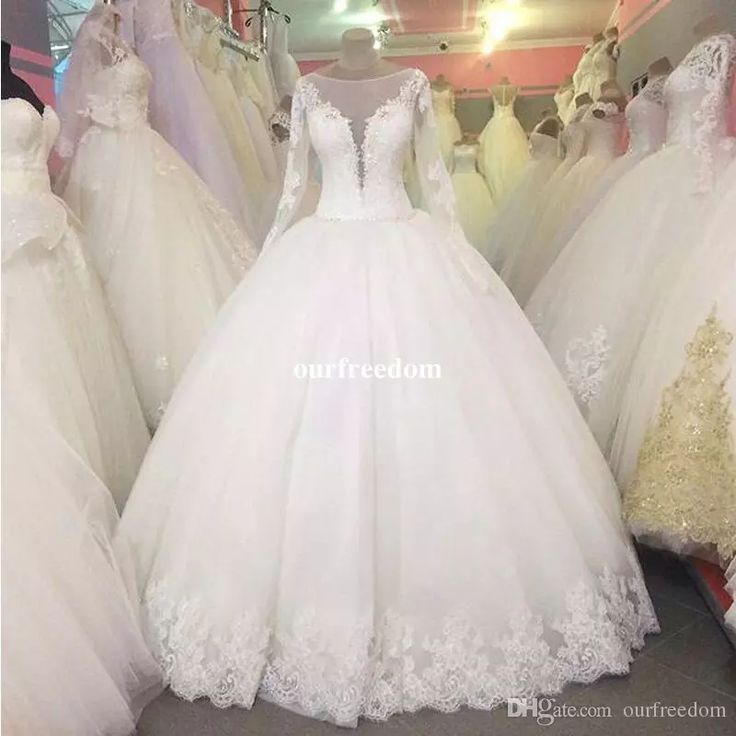 Cheap Hot Sale Sheer Long Sleeves Ball Gowns Wedding Dresses Lace Appliques 2017 Vintage Style Princess Wedding Dresses Real Photos Budget Wedding Dresses Chiffon Wedding Dresses From Ourfreedom, $135.68| Dhgate.Com