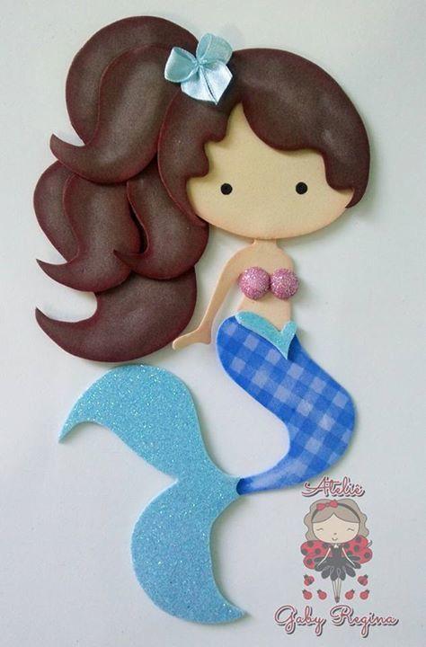 426aec7b92b Esta linda sirena hecha en foami o goma eva puede usarse para decorar la  pared en
