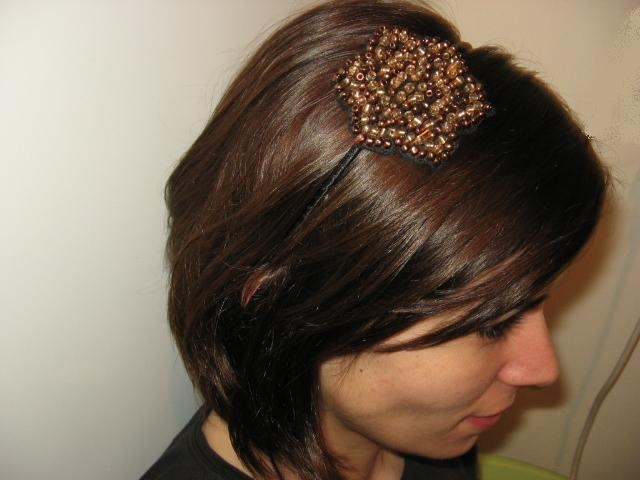 hair accessory made with felt and beads
