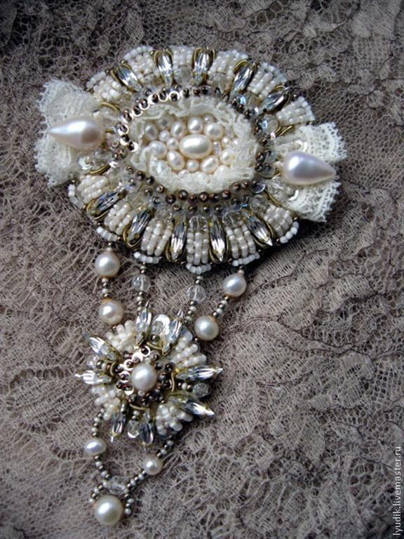 """Jewelry set - beaded brooch and earrings / Купить комплект брошь и серьги""""К13-001"""" - вышитые украшения, брошь ручной работы, Вышивка бисером"""