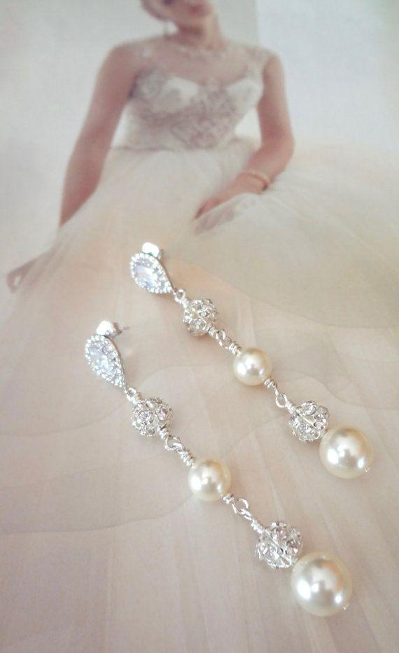 Pendientes perlas de pendientes Plata por QueenMeJewelryLLC
