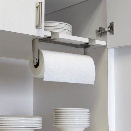 Minimalistische keukenrolhouder. Kan zowel aan wand als in een kastje of aan een deur bevestigd worden. (Decoranza.nl)