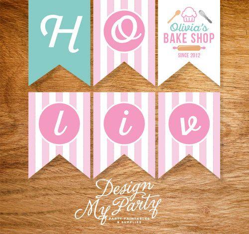 Bake Shop  Happy Birthday Bunting Flags by DesignMyPartyShop