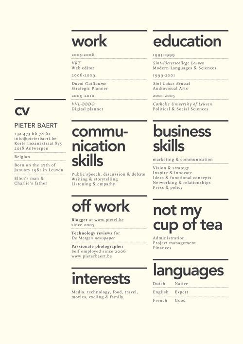 Creative layout for CV. Although the idea of not my cup of tea seems utterly ridiculous to have on a CV.