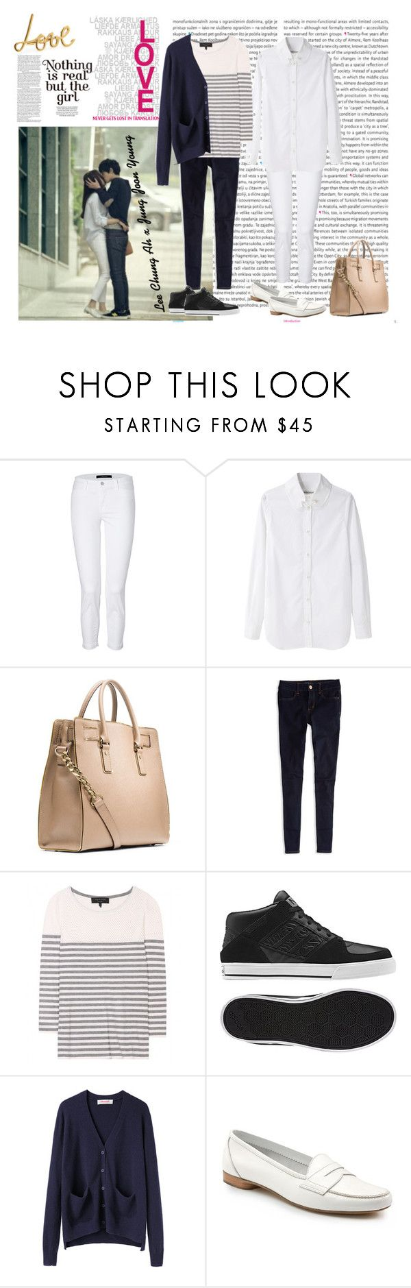 """""""Jung Joon Young x Lee Chung Ah"""" by gaksitaaaaall ❤ liked on Polyvore featuring Oris, J Brand, Tsumori Chisato, MICHAEL Michael Kors, American Eagle Outfitters, rag & bone, adidas, Organic by John Patrick, Brooks Brothers and Lanvin"""