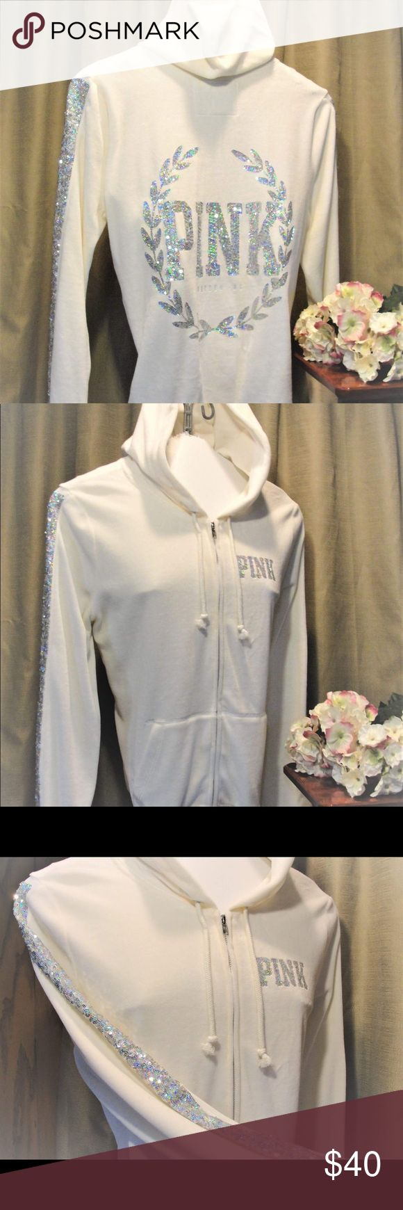 PINK-Ivory Velour w Silver Sequins Zip Up Hoodie. Oh so soft, Ivory & Silver Sequins Hoodie by PINK. I am VERY picky about the items that come to me, I inspect like I am the buyer. Most items from VS and the PINK line ARE New without Tags or Worn Once. So buy with confidence! I DO NOT trade, I'm so sorry 😐 and I will consider discounts on bundles but please understand, I do this to make money, not lose it! I live on a farm with much to do so please be patient Poshers, I'll get to you ASAP…