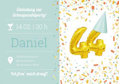 Die Schnapszahl feiern! Witzig-fröhliche Einladungskarte zum 44. Geburtstag mit Konfetti und goldenen Folienluftballons #einladunggeburtstag.de