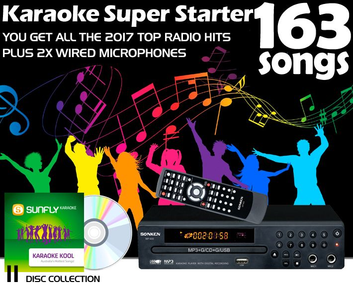 Sonken MP600 Super Starter Karaoke System with 163 Songs and 2 Microphones