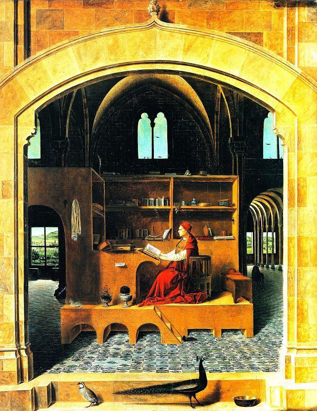 Антонелло да Мессина. Святой Иероним в своей келье, 1475 Лондонская национальная галерея.