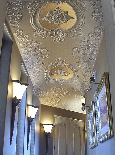 Ceiling design - ornate scrollwork painted on a hallway ceiling with gold leaf accents | via Photo: williamthe.artist