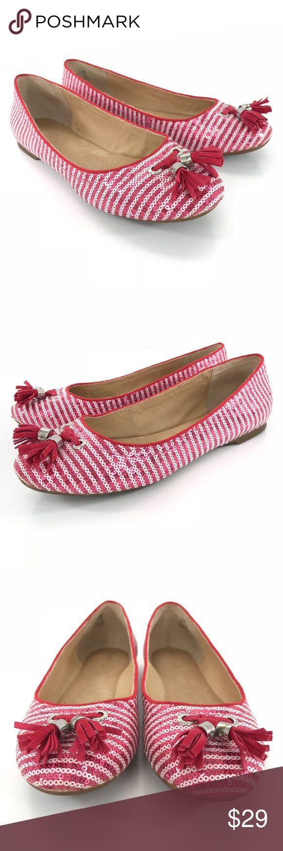Sperry Topsider Sequin Tassel Striped Ballet Flats Sperry Topsider  Womens Size 7.5  Sequin Sparkle Tassel Front Striped Ballet Flats Fushcia/Pinkish Red and White Condition: Excellent preowned condition with only very light signs of use. These look to have been worn very little. No major flaws or imperfections. See photos as a visual description of the item. Sperry Top-Sider Shoes Flats & Loafers