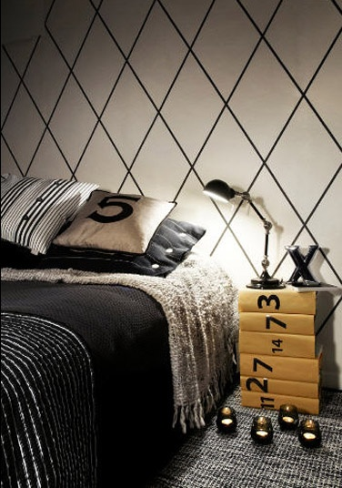 Bedroom- masculine, painted wall  Cool, but i know you wont like it