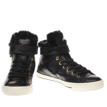 womens converse black & white all star hi brea leather & fur trainers