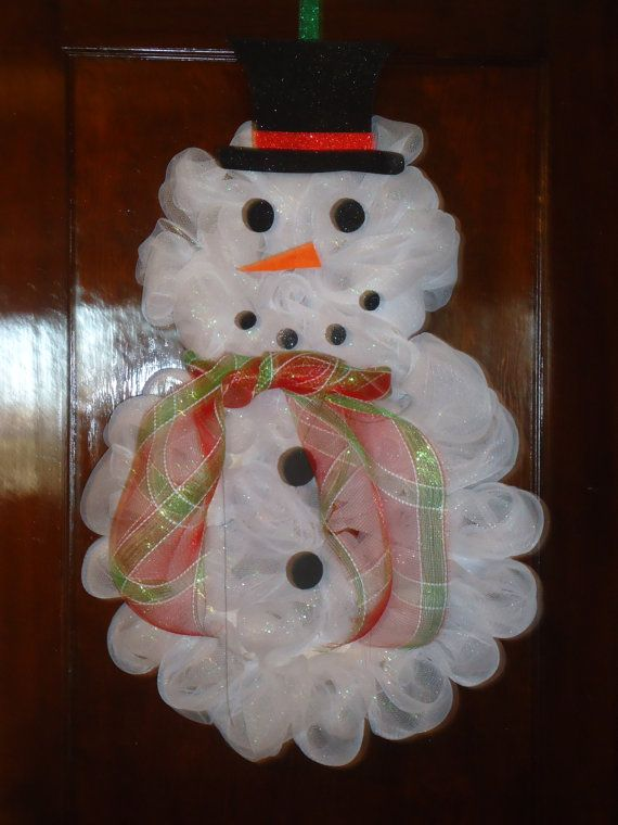Handmade deco mesh snowman wreath by galalittle on Etsy, $40.00