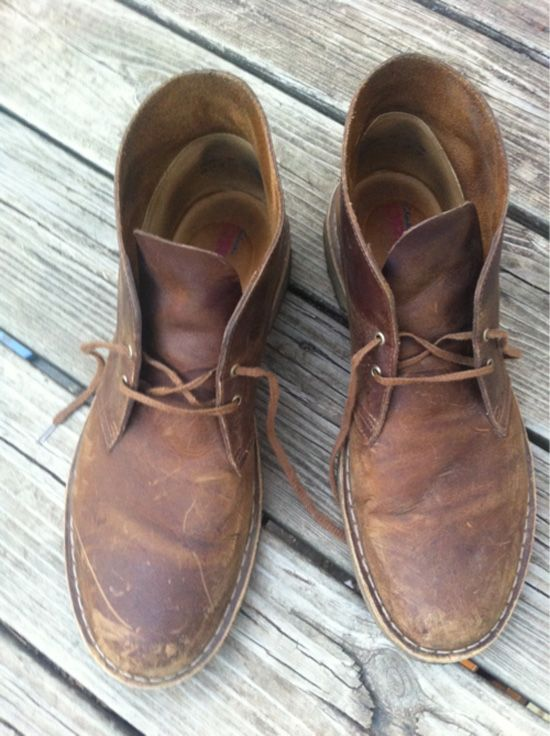 Clarks Desert Boots 1 month in wearing them out adds character