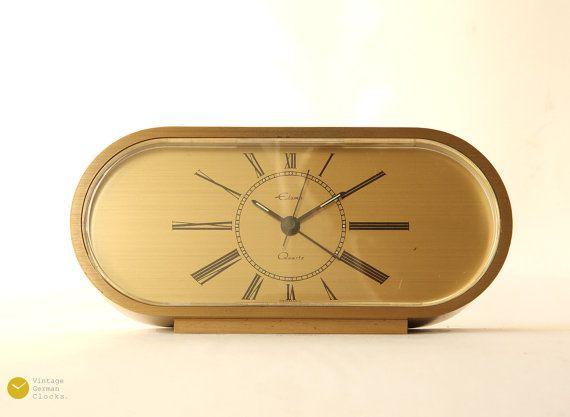 space age heavy brass desk clock mid century germany alarm modern table atomic mcm mantel - Desk Clocks