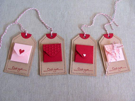 Kraft Mini busta nota carta San Valentino regalo tag
