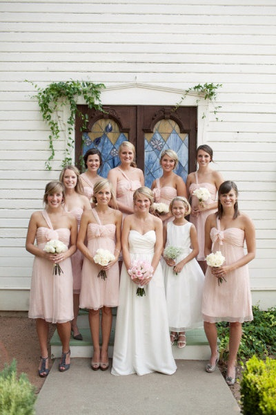 Loving the look of pink bridesmaid dresses @Sharon Macdonald Faye!! All versions of pink look gorgeous with white (if I remember your new one is a little darker and will be BEAutiful!!)! You picked a great color!!! :)