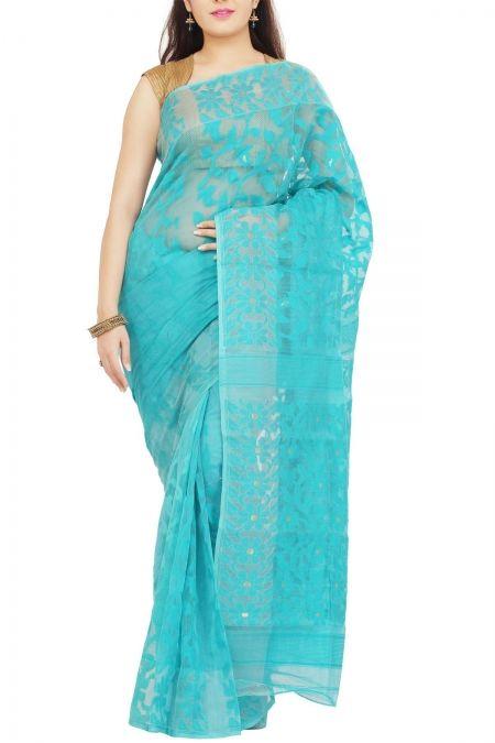Turquoise Floral Dhakai Cotton Jamdani Saree